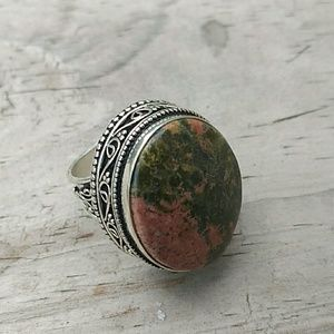 Genuine Unakite Gemstone Sterling Silver Ring